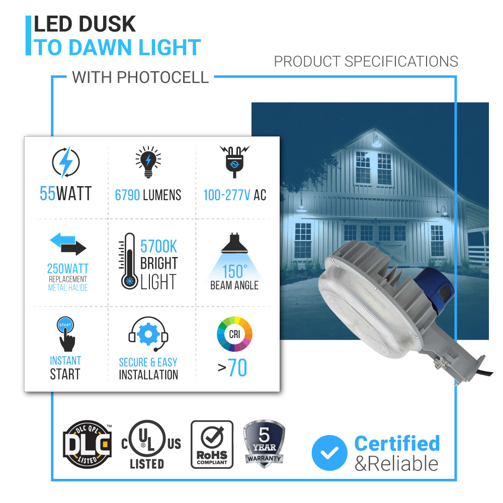 Led Dusk To Dawn Light 55w 5700k With Photocell  U2013 Wen Lighting