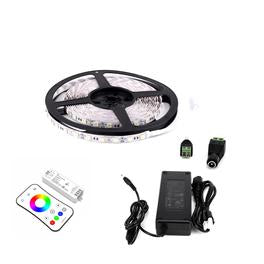 RGB LED Strip Lights - 12V LED Tape Light w/ DC Connector - 126 Lumens/ft. with Power Supply and Controller (KIT)