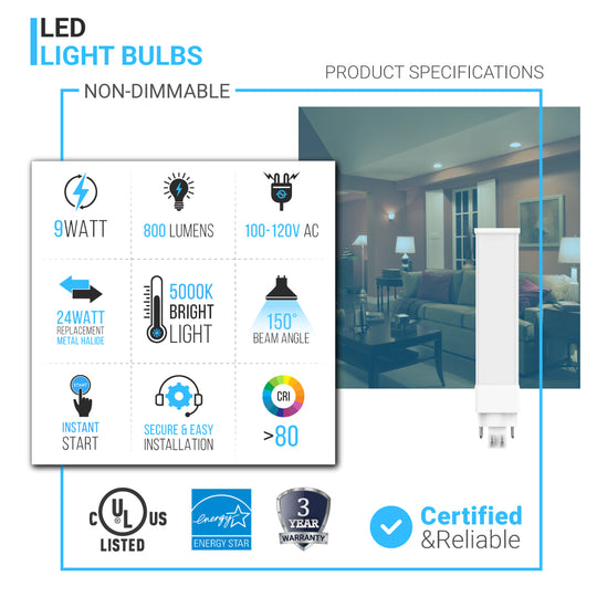 1-Pack LED PL BULB 9W - 5000K (Daylight White) - 800 Lumens - GX23 2 Pin