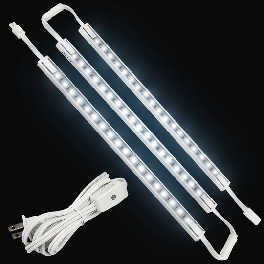 LED Under Cabinet Strip Lighting, Hardwired/Direct Plug-In, 12 Inch, 3-Piece Kit, 3x3.6 Watt, White, 600 Lumens