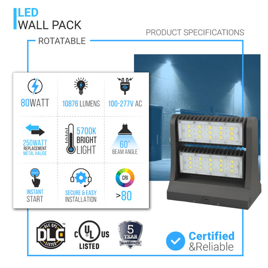 Wall pack 80w 5700K Rotatable ; 10876 Lumens
