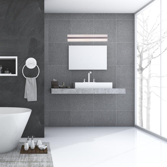 Rectangle LED Vanity Lights, 4000K (Cool White), CRI >80, Dimmable, ETL Listed, White Acrylic Shade