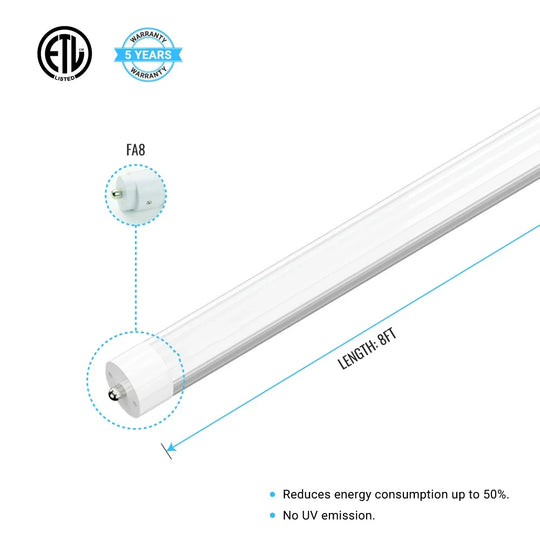 T8 8ft LED Tube 40W 5600  Lumens Single Pin 4000K Frosted