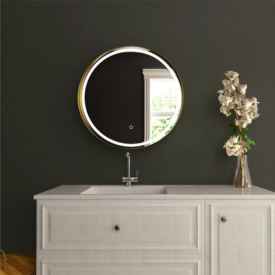 24 Inch Round Shelf LED Lighted Mirror, Touch Switch, Defogger and CCT Remembrance, Raven Round Style