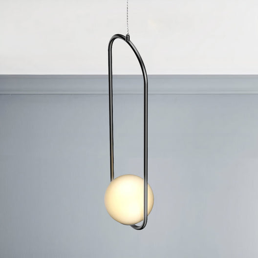 1-Light, Single Bell Pendant Chandelier, 9W, 3000K, Matte Black Body Finish, Dimmable
