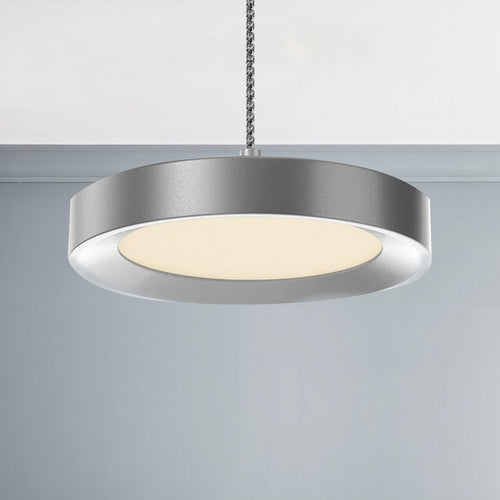 Disk Architectural, LED 5.5 Inch Round Pendant Mount Direct Down Light Fixture, 12W, 3000K, Dimmable