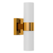 Load image into Gallery viewer, 2-Lights Wall Sconce with White Glass Shades, Brushed Brass Finish