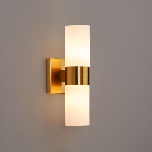 2-Lights Wall Sconce with White Glass Shades, Brushed Brass Finish