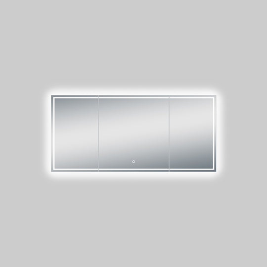55.1 X 25.6 Inch LED Backlight Mirror with Thin Plexiglass Edge, Defogger, CCT Remembrance and Touch Sensor Switch, Titan Style