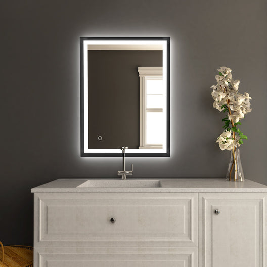 LED Lighted Mirror with Frame, Defogger and CCT Remembrance, Magnum Style