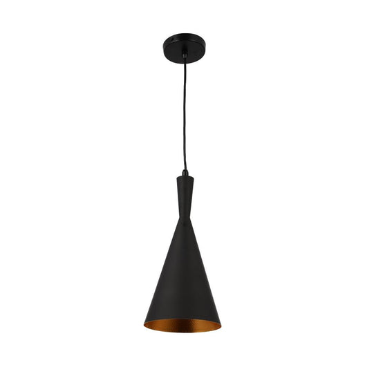 Matte Black Pendant Light Fixture, Sublate Style, E26 Base, Steel Body, UL Listed