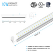 Load image into Gallery viewer, T8 2ft LED Tube Integrated 2 Row Flat ; 10W 6500K ; AC100-277V ; Clear