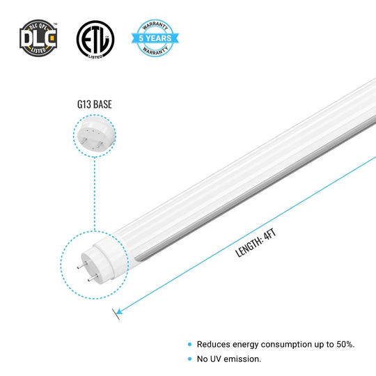 T8 4ft 18W LED Tube 5000K Frosted 2400 Lumens Single Ended Power