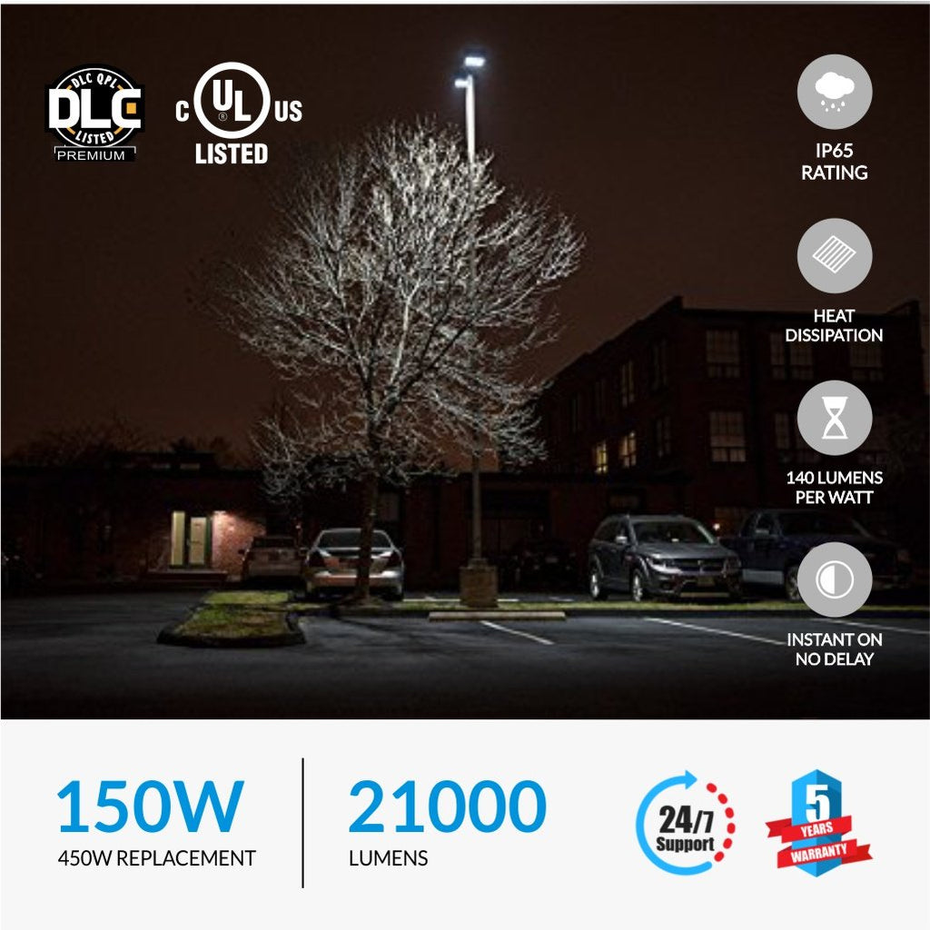 150W LED Pole Light with Photocell; 5700K ; YM Bronze; AC100-277V - LEDMyplace