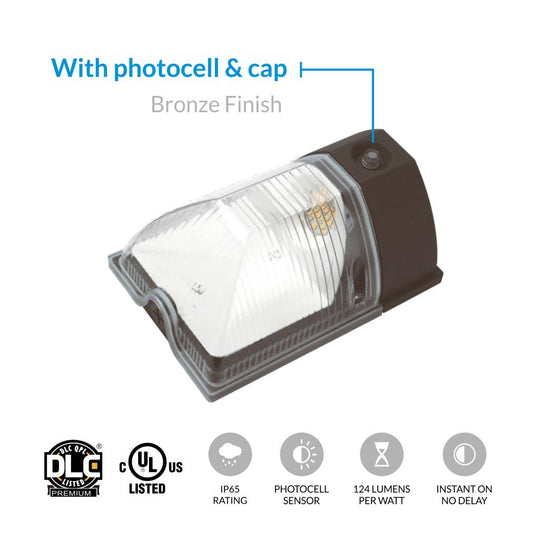 1-Pack LED Wall Pack with Photocell and Cap ; 26W 4000K - LEDMyplace
