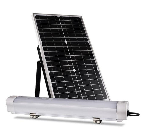 LED Solar Batten Light Set ; 12W with 30W Solar Panel ; 6000K - LEDMyplace