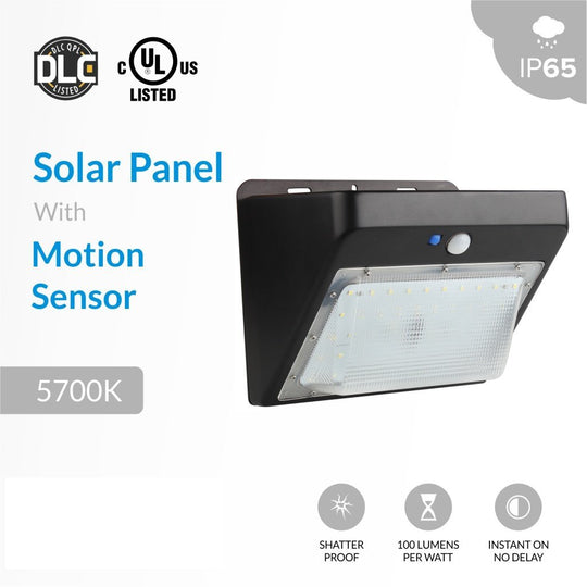 5W Solar LED Wall Pack; 5700K; Black