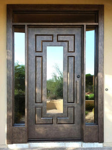 Iron Single Door with transom and sidelites 02