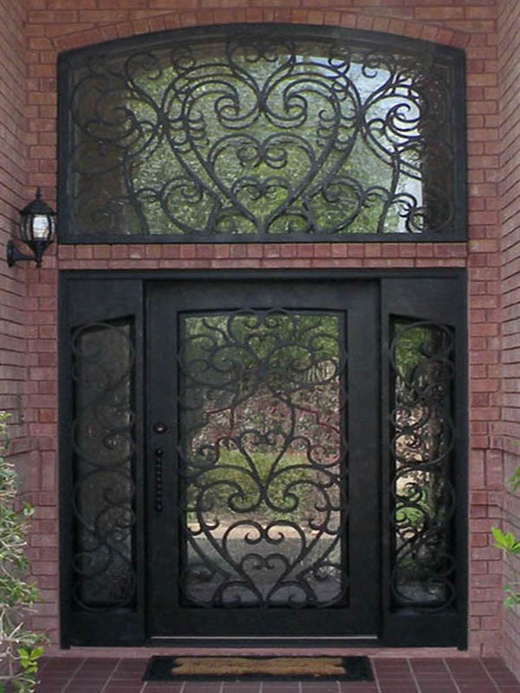 Iron Single Door with transom and sidelites 003