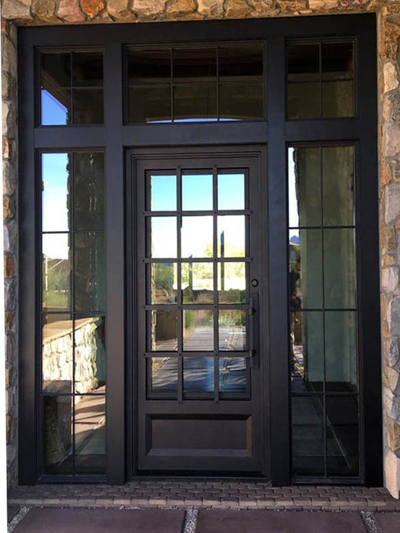 Iron Single Door with transom and sidelites 004