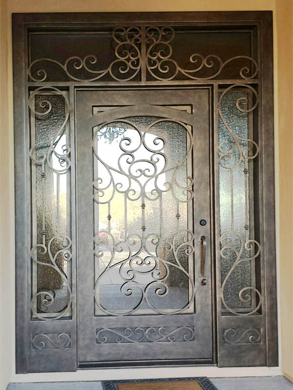 Iron Single Door with transom and sidelites 005