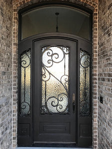 Iron Single Door with transom and sidelites 006