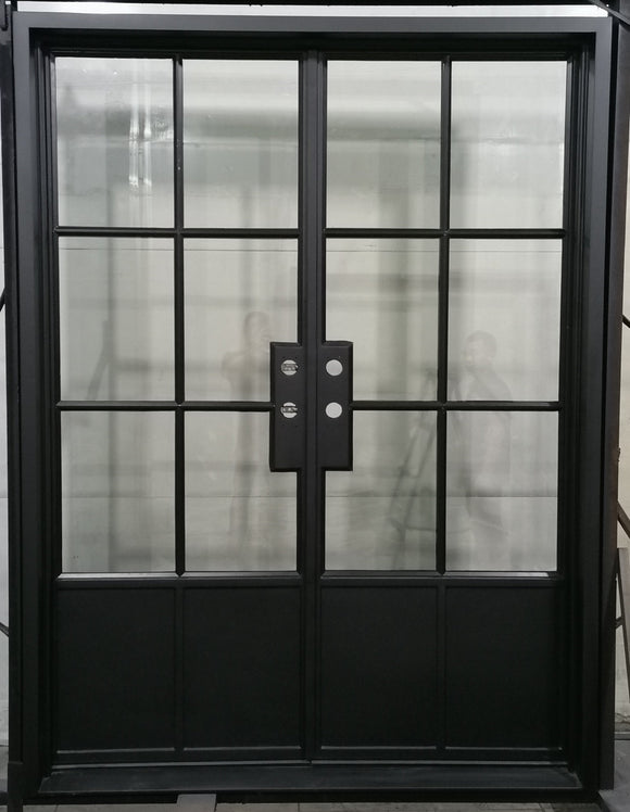 924#15-French Steel door-6 Lites with 2 kickplates-72 x 96 x 6 Inches -Left Hand-Inswing