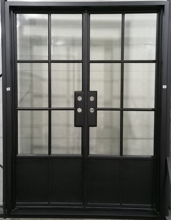 924#16-French Steel door-6 Lites with 2 kickplates -72 x 96 x 6 Inches -Right Hand-Inswing