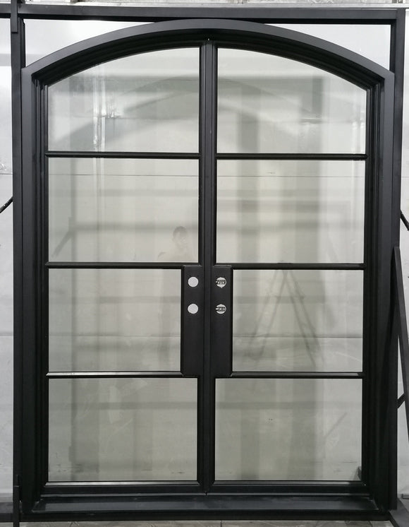 925#14-French Steel door-4 Lites -Arch-72 x 96 x 6 Inches -Right Hand-Inswing