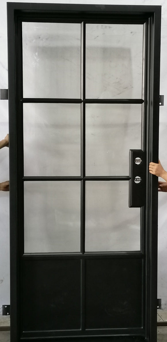 924#21-French Steel door-6 Lites with kickplate -42 x 96 x 6 Inches -Left Hand-Inswing
