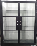 923#7-French Steel door-3 Lites -65 x 81x 6 Inches -Left Hand-Inswing back view