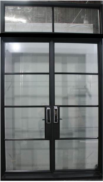 925#16-French Steel door-4 Lites -Double door w/ Transom-72 x 120 x 6 Inches -Right Hand-Inswing