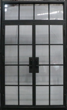 925#21-French Steel door-8 Lites -Double door w/ Transom-72 x 120 x 6 Inches -Left Hand-Inswing back view