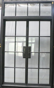 925#21-French Steel door-8 Lites -Double door w/ Transom-72 x 120 x 6 Inches -Left Hand-Inswing