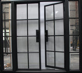 925#24-French Steel door 8 Lites -72 x 96 w/2 side lite 18x96-108 x 96 x 6 Inches -Right Hand-Inswing