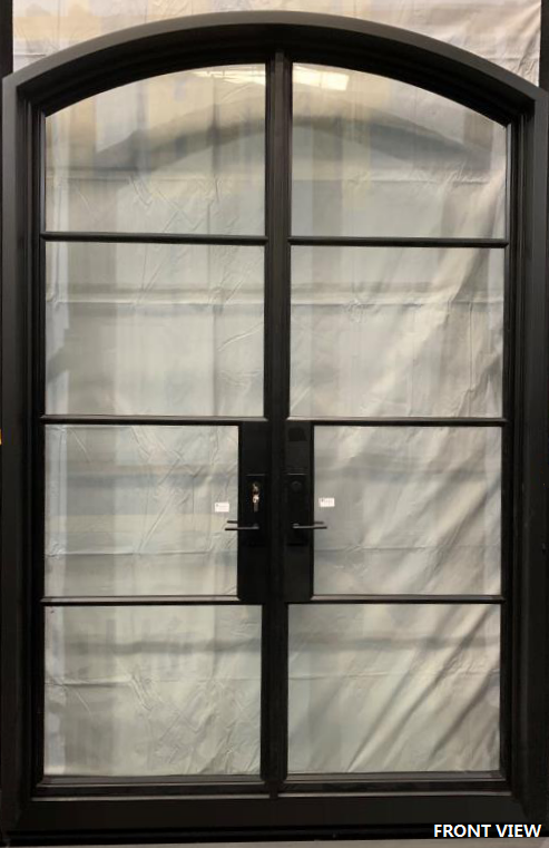 927#14-French Steel door-4 Lites -Arch-72 x 108 x 6 Inches -Left Hand-Inswing