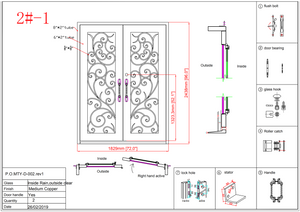 2#1-Wrought Iron door -72 x 96 x8 Inches -Right Hand-Inswing