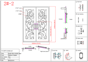 2#2-Wrought Iron door -72 x 96 x8 Inches -Right Hand-Inswing