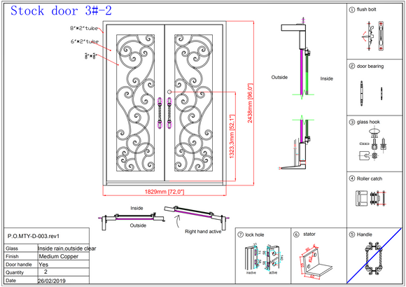 3#2-Wrought Iron door -72 x 96 x8 Inches -Right Hand-Inswing