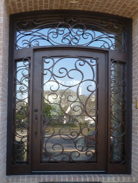 Iron Single Door with transom and sidelites 001