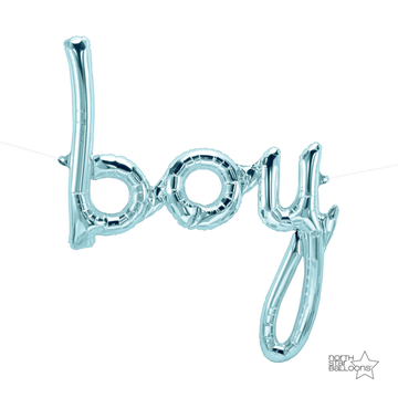 Pastel Blue Boy Script Balloon