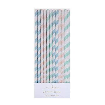 Pastel Stripes Party Straws