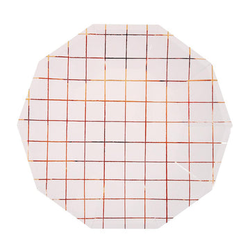 Rose Gold Grid Dinner Plate