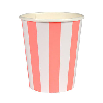 Coral Striped Paper Cups