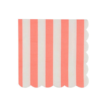 Coral Striped Cocktail Napkins