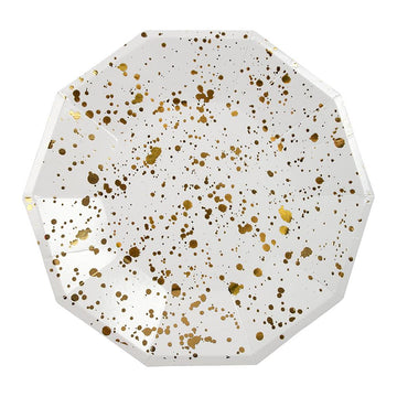 Gold Splatter Large Paper Plates