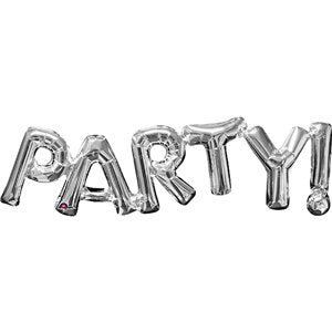 Silver Party Phrase Balloon