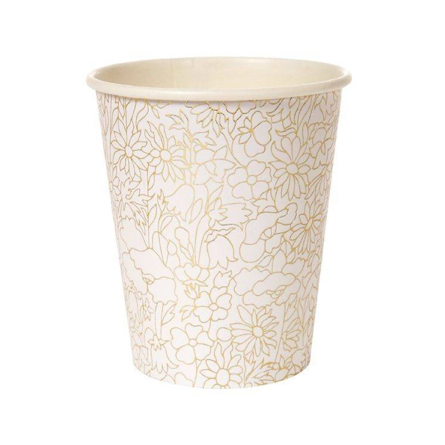 Gold Floral Paper Cup