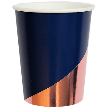 Erika - Navy & Rose Gold Paper Cups