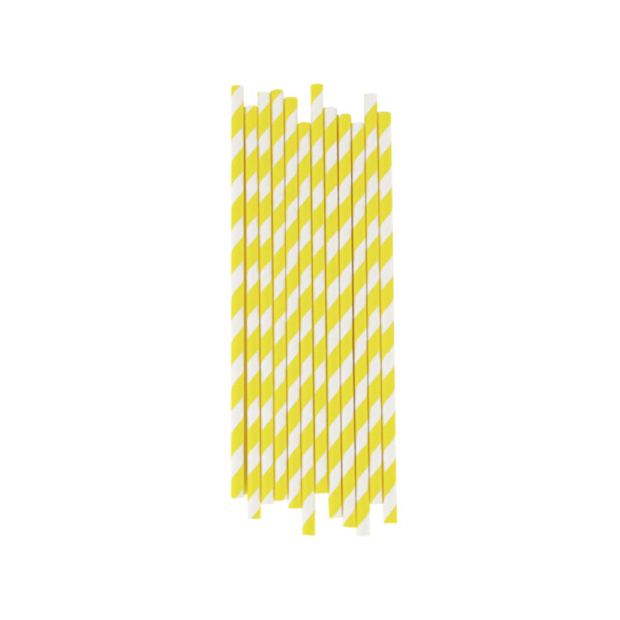 Yellow Striped Paper Straws